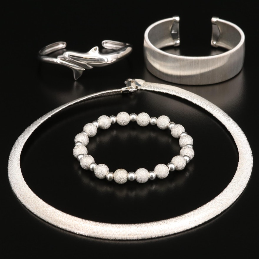 Sterling Silver Bracelets and Necklace Featuring Wyland Foundation Dolphin Cuff