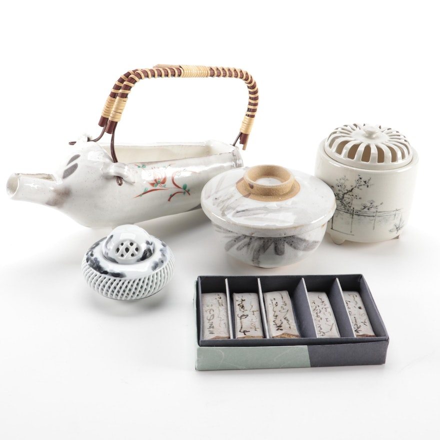 Japanese Ceramic Sake Pot, Chopstick Rests, Rice Bowl, with Chinese Censers