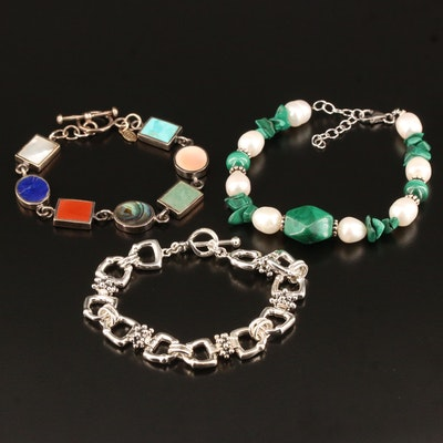Sterling Bracelets Including Michael Dawkins, Malachite, Pearl and Abalone