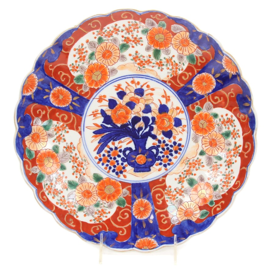 Japanese Imari Hand Painted Porcelain Charger, Late 19th Century
