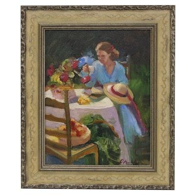 Sally Rosenbaum Oil Painting of Woman at Outdoor Table, 21st Century
