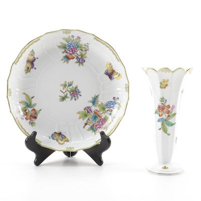 "Herend ""Queen Victoria"" Porcelain Vegetable Bowl and Vase"
