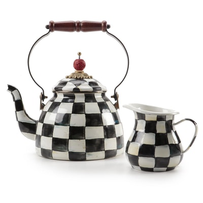 "MacKenzie-Childs ""Courtly Check"" Enamelware Tea Kettle and Creamer"