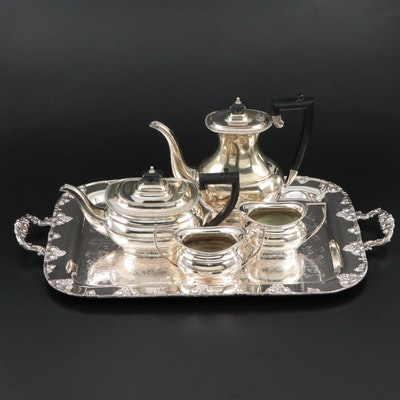 Cheltenham English Silver Plate Tea and Coffee Service with F.B Rogers Tray