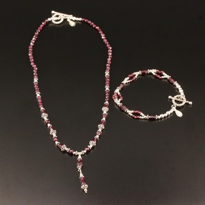 Sterling Silver Beaded Garnet Necklace and Bracelet Set
