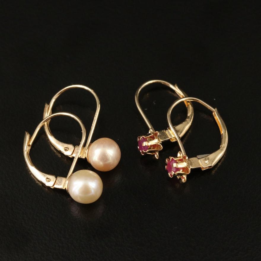 14K Corundum and Pearl Drop Earrings