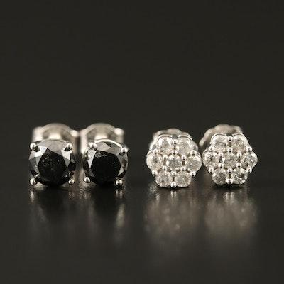 Sterling 2.00 CTW Black Diamond and Diamond Stud Earrings