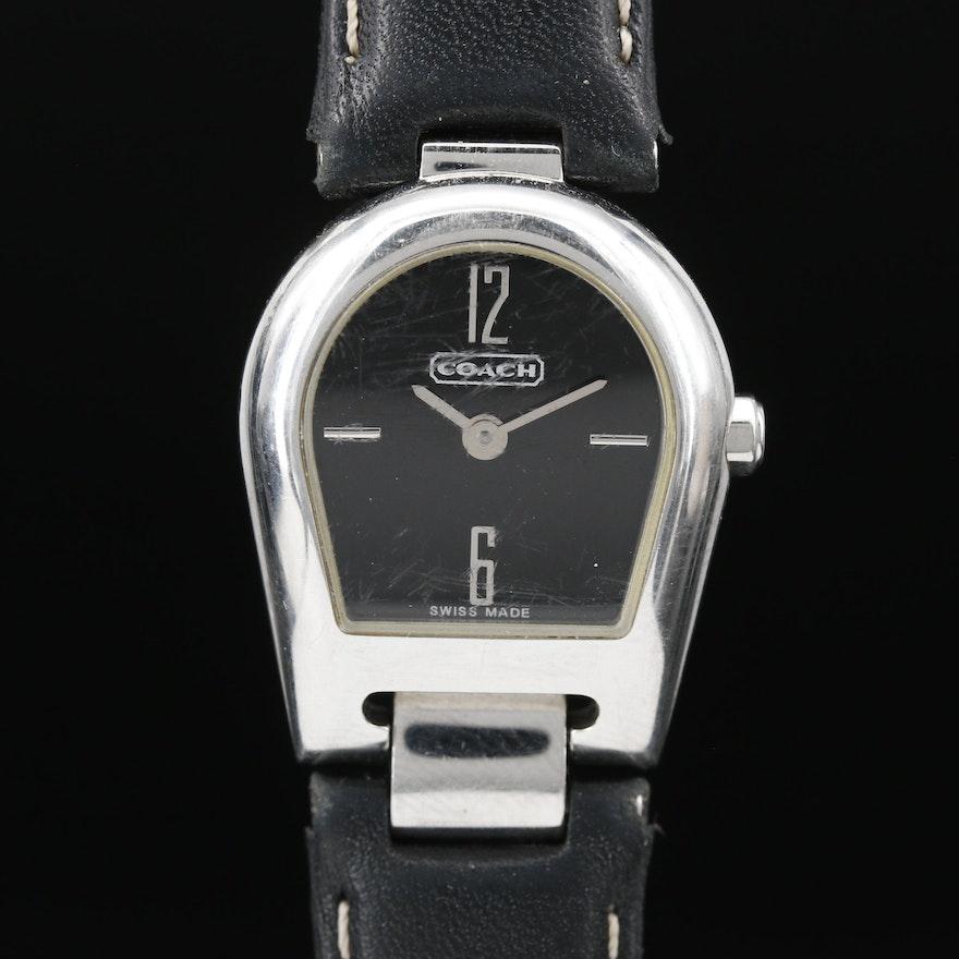 Coach Stainless Steel Horseshoe Style Quartz Wristwatch