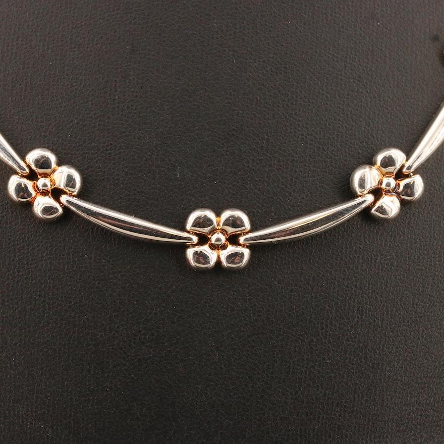 Milor Sterling Silver Floral Motif Link Necklace