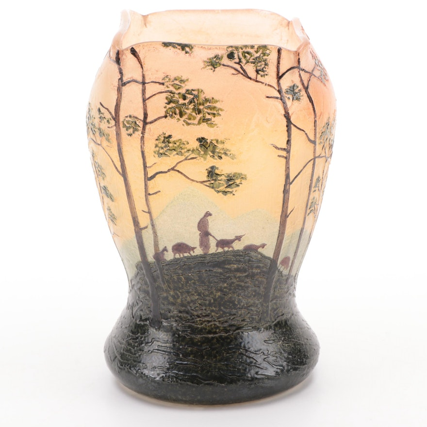 Legras French Hand-Painted Enameled Glass Vase, Early 20th Century