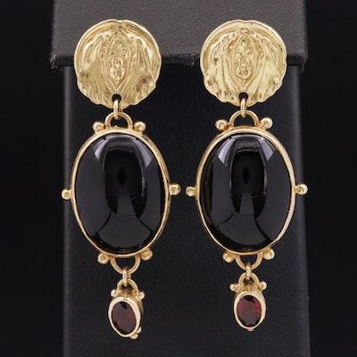 18K Black Onyx and Garnet Earrings