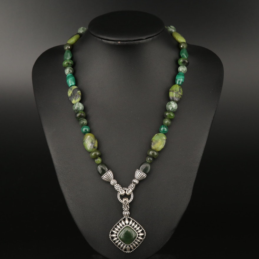 Carolyn Pollack for Relios Necklace and Enhancer Pendant with Malachite