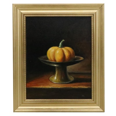 "Houra H. Alghizzi Still Life Oil Painting ""Pumpkin in Antique Bowl,"" 2020"