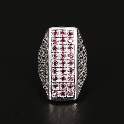 Sterling Silver Rhodolite Garnet Filigree Dinner Ring
