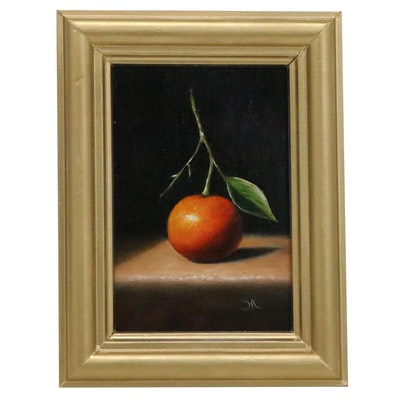 """Houra H. Alghizzi Still Life Oil Painting """"Clementine Stem,"""" 2020"""