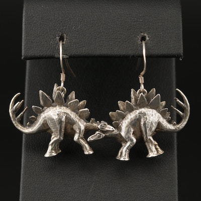 Sterling Silver Stegosaurus Earrings