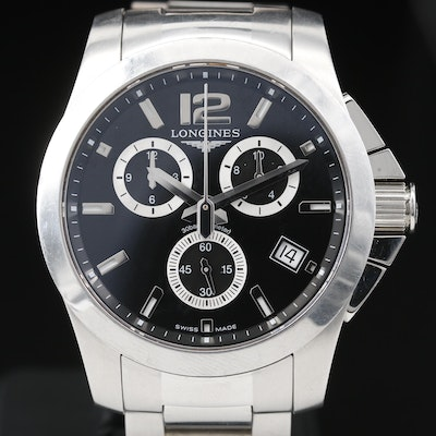 Longines Conquest Chronograph Stainless Steel Quartz Wristwatch