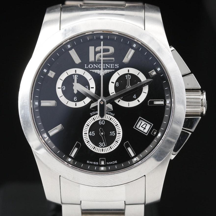 Longines Conquest Chronograph Stainless Steel Quartz Wristwatch