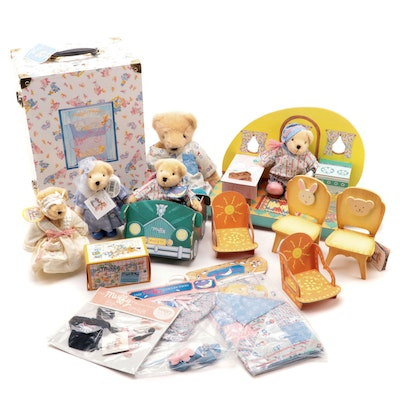 Stuffed Muffy Vander Bear and Accessories Including Quilt and Telephone