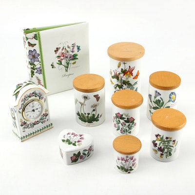 "Portmeirion ""Botanic Garden"" Canisters, Clock and Other Accessories"