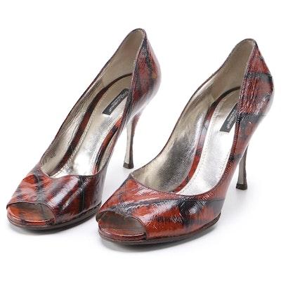 Dolce & Gabbana Dyed Eel Skin High Heel Peep-Toe Pumps
