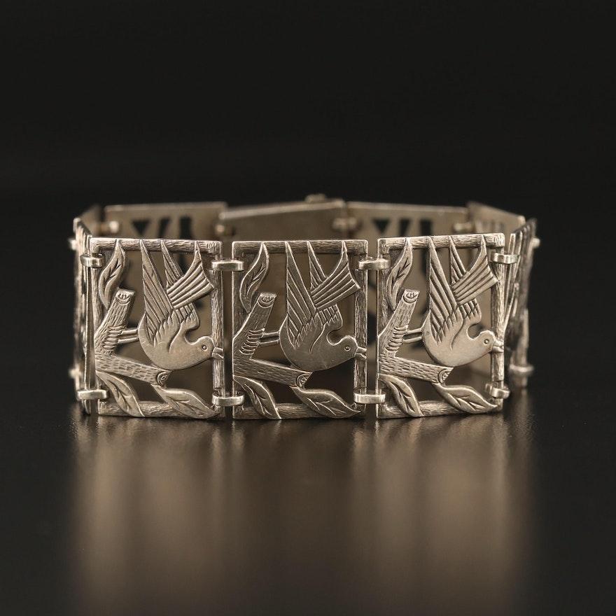 Vintage Sterling Silver Bird Motif Panel Bracelet
