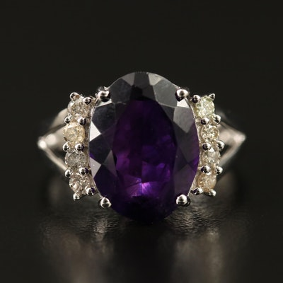 Sterling Amethyst and Diamond Ring with Split Shoulders