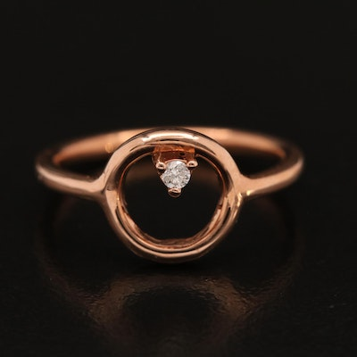 14K Diamond Geometric Solitaire Ring