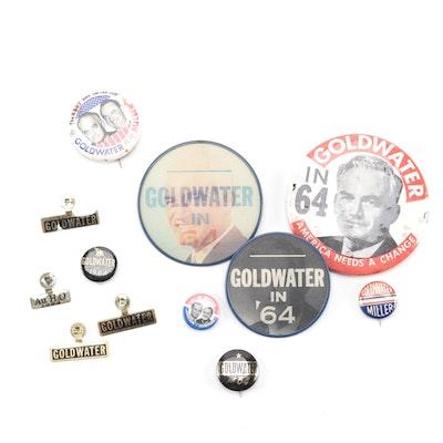 Barry Goldwater U.S. Presidential Campaign Pinbacks and Tabs, 1964