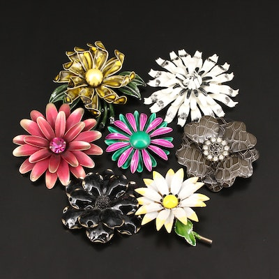 Vintage Flower Brooches Featuring Coro and Pastelli