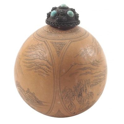 Chinese Scrimshaw Gourd Snuff Bottle with Turquoise Inlaid Stopper