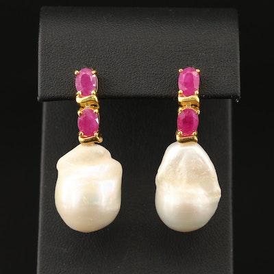Sterling Silver Pearl Ruby Drop Earrings