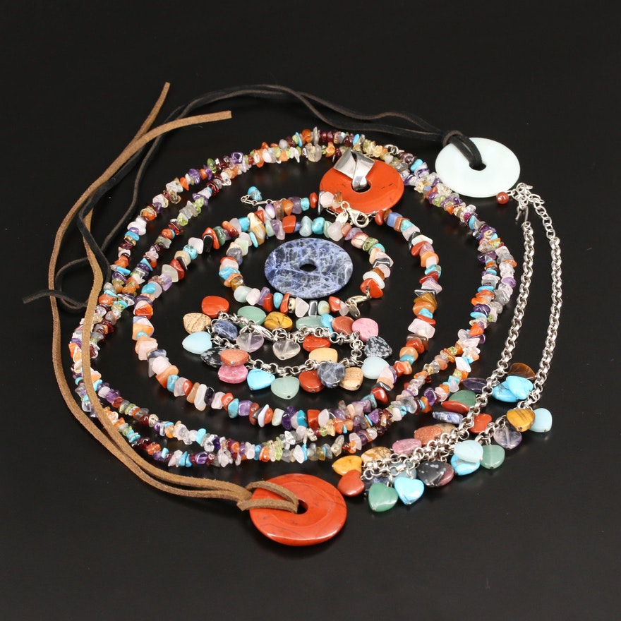 Gemstone Jewelry Including Red Jasper, Amethyst, Sodalite and Sterling Silver