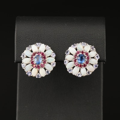 Sterling Silver Opal, Kyanite, Garnet and Tanzanite Earrings