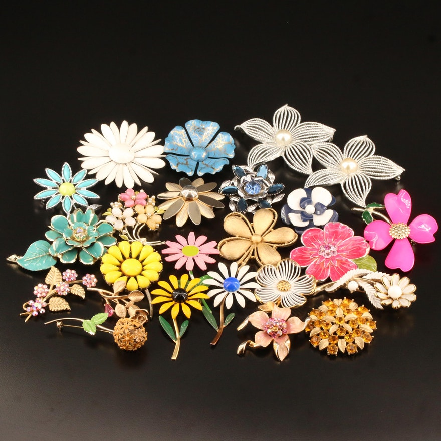 Vintage Floral Brooches Featuring Crown Trifari and Sarah Coventry