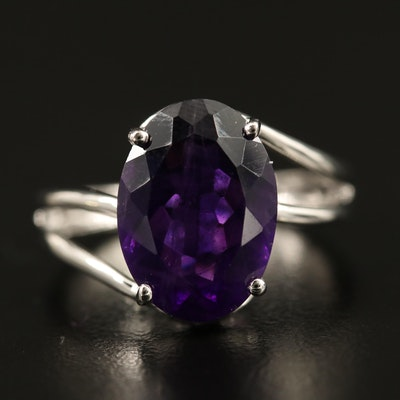 Sterling Amethyst Solitaire Bypass Ring