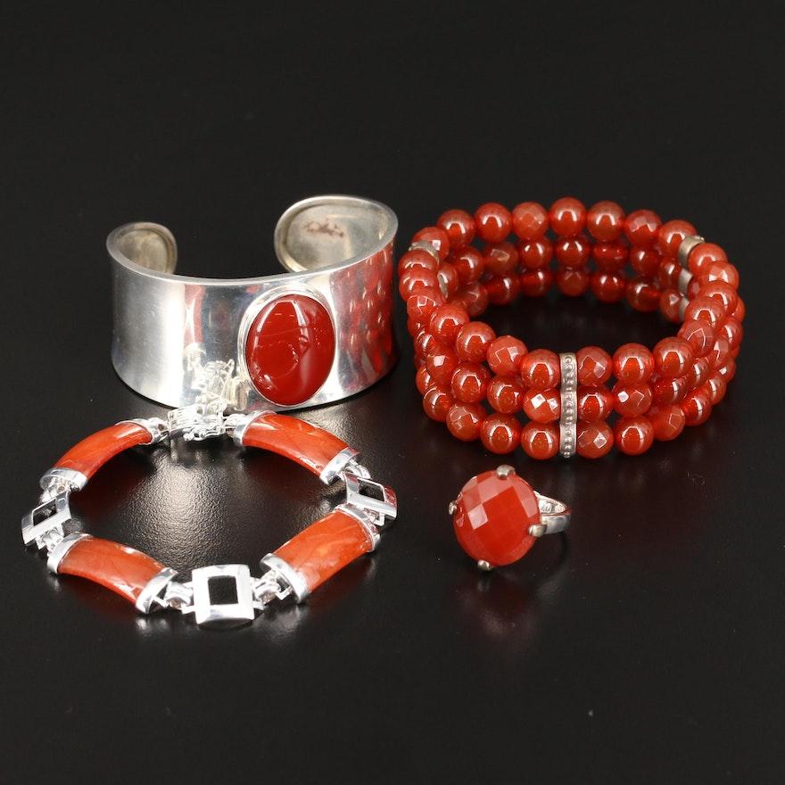 Sterling Carnelian Bracelets and Ring Featuring Good Fortune Link Bracelet