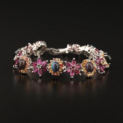 Sterling Silver Opal, Garnet and Sapphire Floral Bracelet