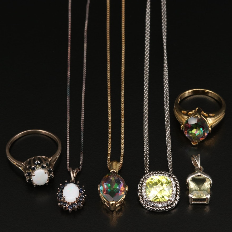 Sterling Silver Jewelry with Sapphire, Citrine, Opal and Sapphire