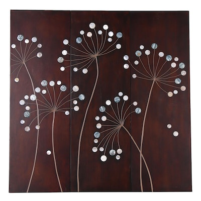 Abstract Floral Wood Triptych Designed by Tandi Venter, 21st Century