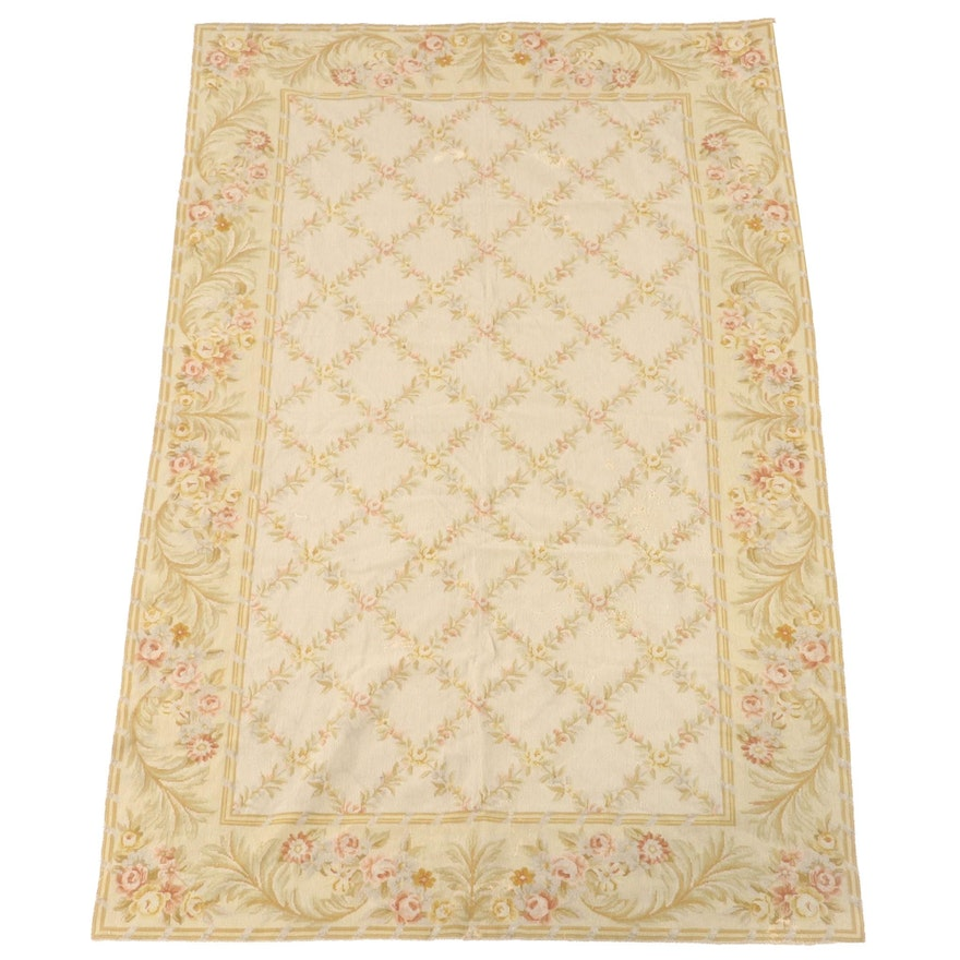 4'11 x 7'11 Handmade Aubusson Style Floral Wool Needlepoint Rug