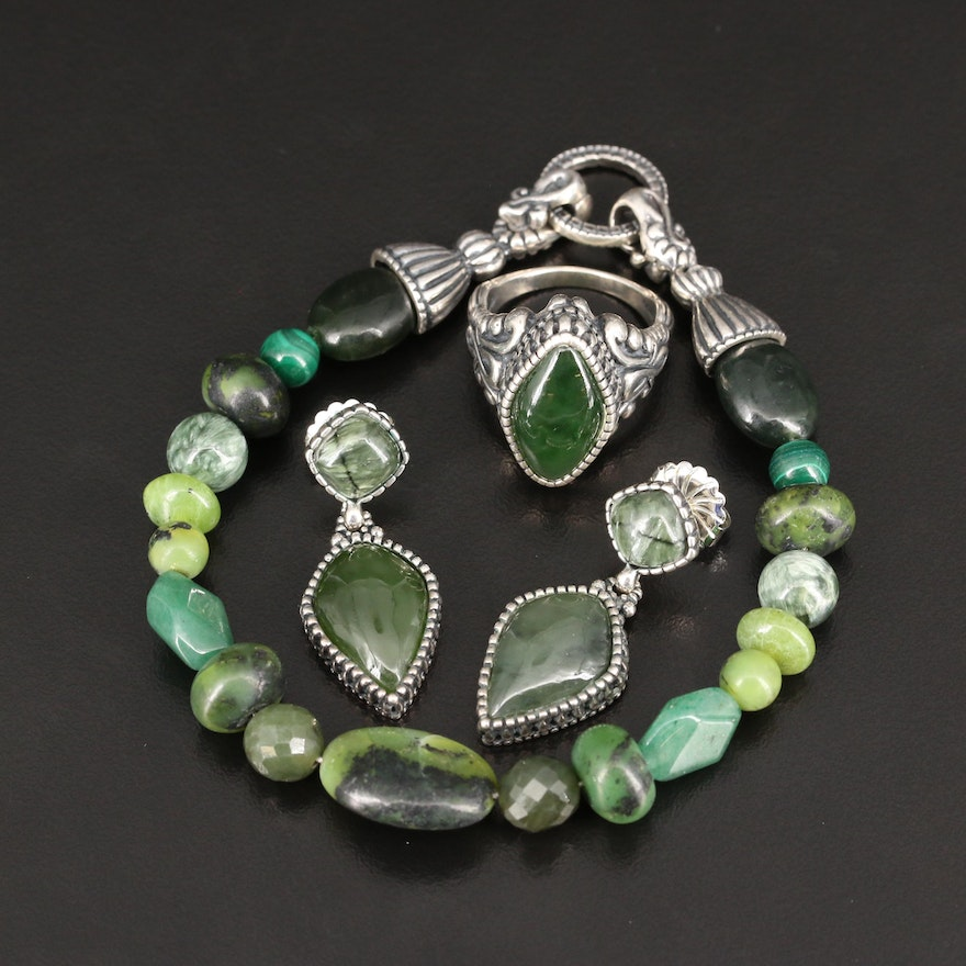 Carolyn Pollack for Relios Sterling Jewelry Including Nephrite and Serpentine