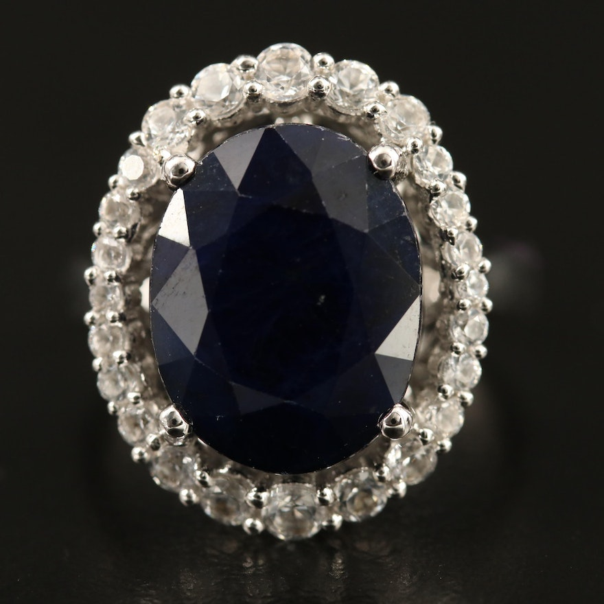 Sterling Silver Corundum and Sapphire Oval Ring