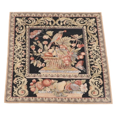 4'1 x 4'4 Handmade French Style Pictorial Needlepoint Rug, Mid-20th Century