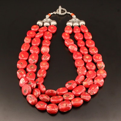 Multi-Strand Large Coral Nugget Necklace with Sterling Beads and Clasp