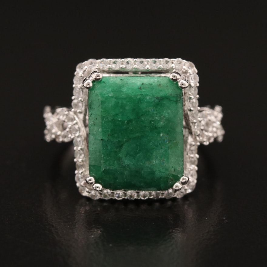 Sterling Silver Emerald and Sapphire Rectangular Ring
