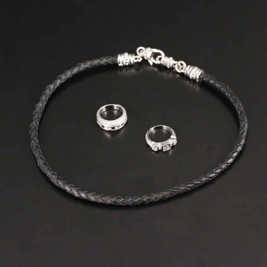 Judith Ripka Sterling Silver Necklace and Rings with Sapphire and Cubic Zirconia