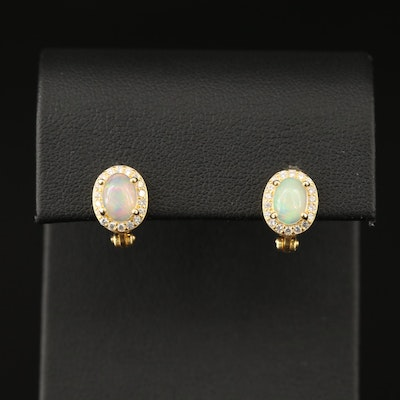 Sterling Opal and Cubic Zirconia Halo Drop Earrings