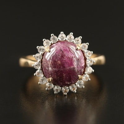 Sterling Silver Corundum and Sapphire Halo Ring