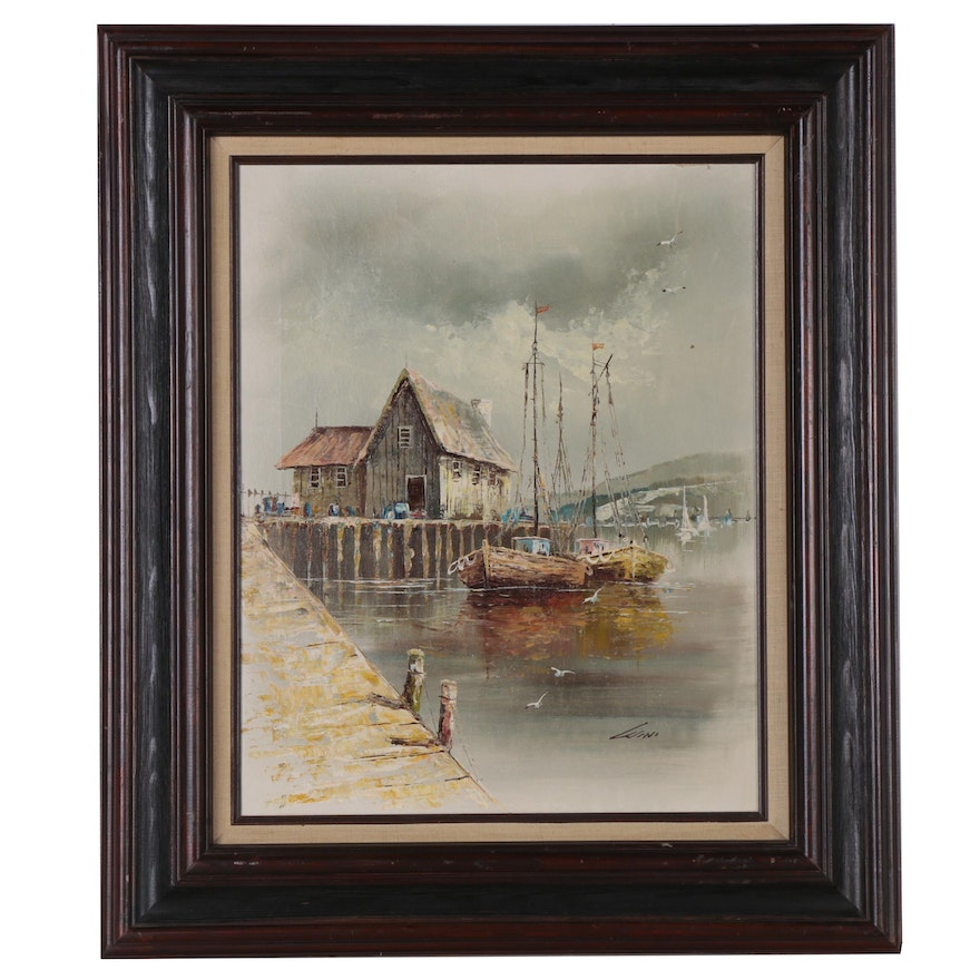 Oil Painting of Seaport, 20th Century